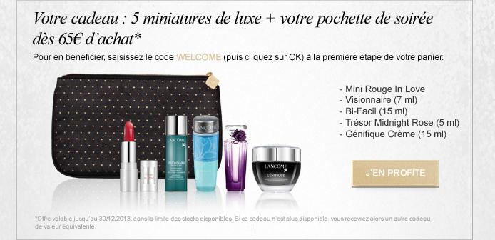 Votre cadeau : 5 miniatures de luxe + votre pochette de soirée dès 65€ d'achat